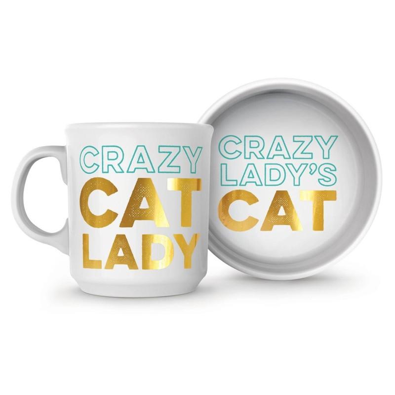 Crazy Cat Lady Ceramic Mug and Pet Bowl Set
