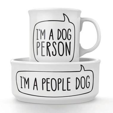 Dog Person Ceramic Mug and Pet Bowl Set