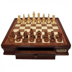 Wooden Chess Set with Drawers by Dal Rossi Italy