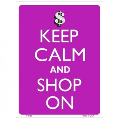Keep Calm and Shop On Tin Sign