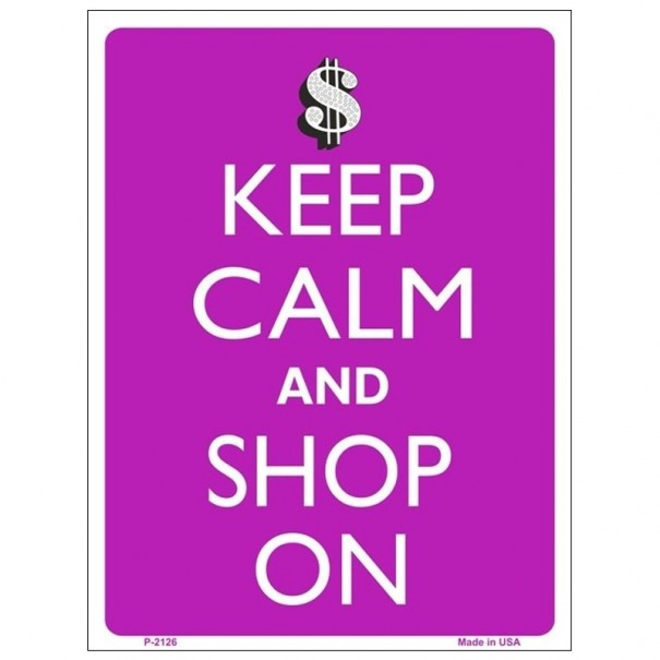 Keep Calm and Shop On Tin Sign