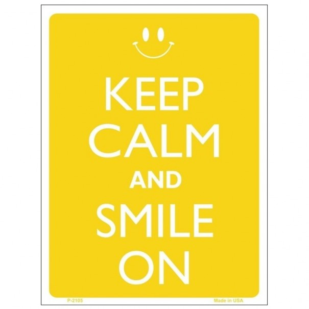 Keep Calm and Smile On Tin Sign