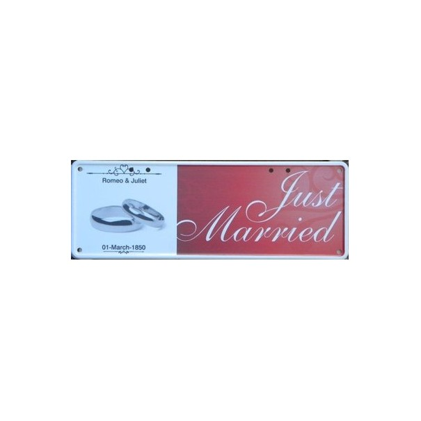 Personalised Just Married Number Plate