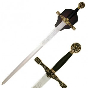 Gold Excalibur Sword with Wood Wall Plaque