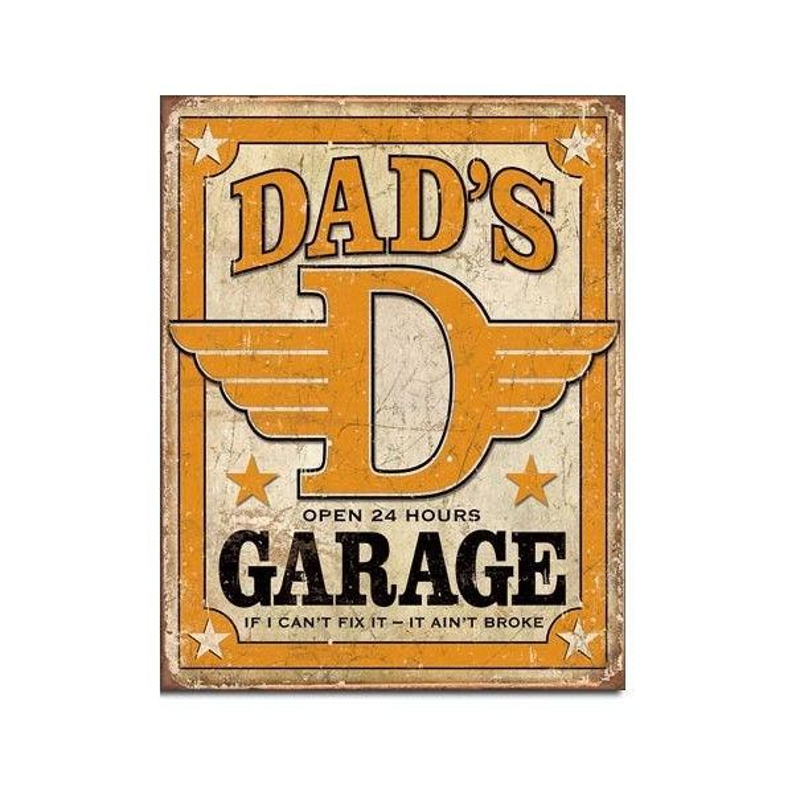 Dad's Garage Open 24 Hours Metal Sign