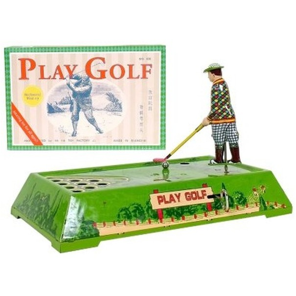 Mechanical Wind-up Golfer on the Green
