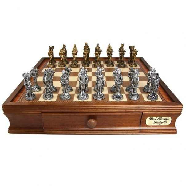 Medieval Pewter Chess Set by Dal Rossi Italy