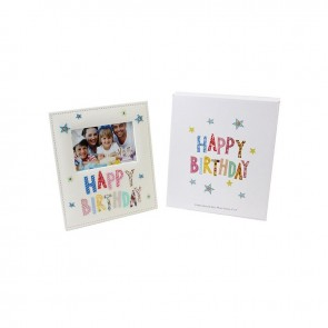 Happy Birthday White Fabric Photo Frame