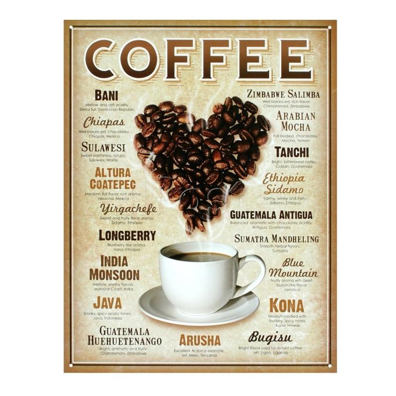 Heart Coffee Retro Tin Sign