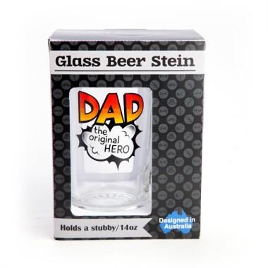Dad the Original Hero Glass Beer Stein