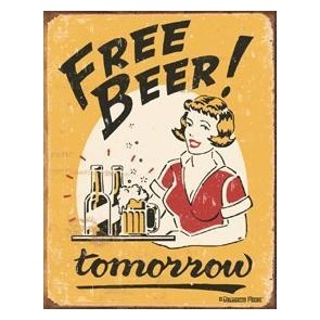 Free Beer Here Metal Sign