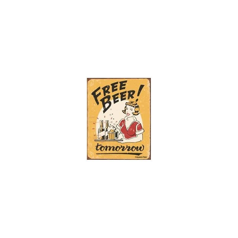 Free Beer Here Metal Sign