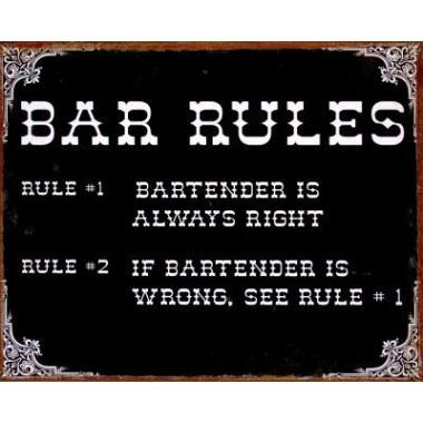 Bar Rules Metal Sign