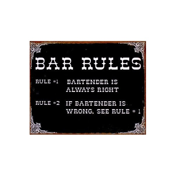 Bar Rules Metal Sign