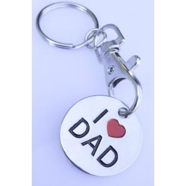 I Love Dad Metal Key Ring