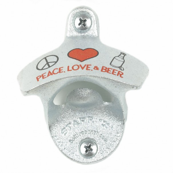 Peace, Love & Beers Wall Mounted Bottle Opener