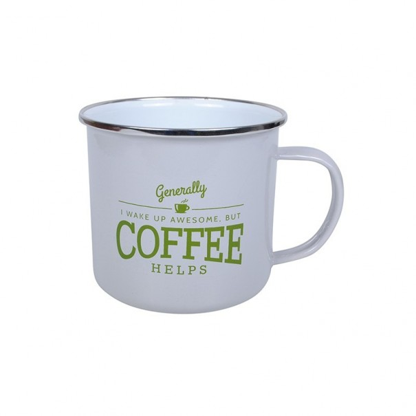 Coffee Helps Enamel Mug