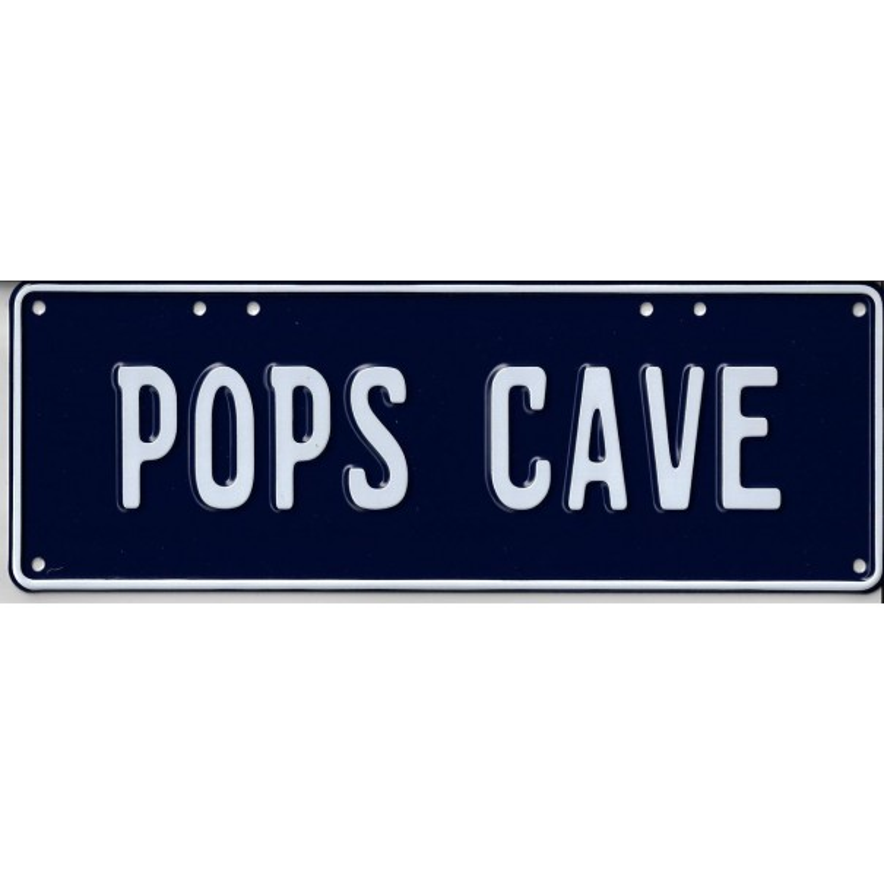 Pop's Cave Novelty Number Plate