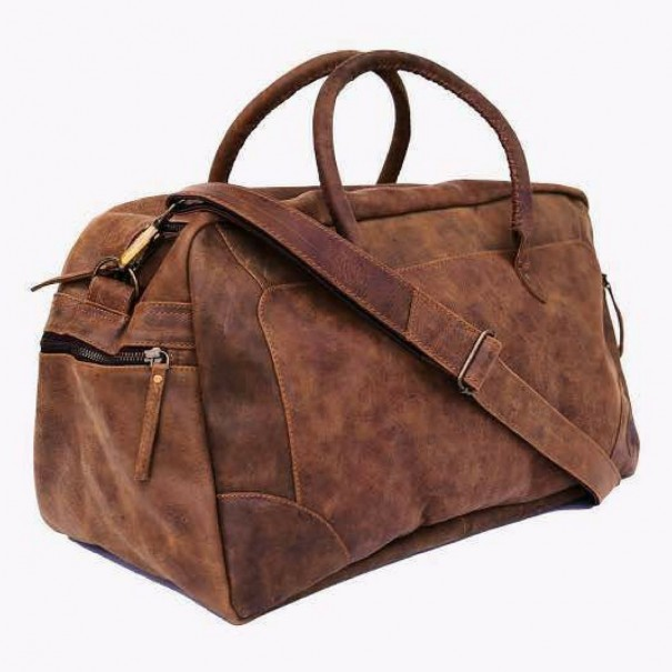 Classic Duffle Genuine Leather Luggage Bag by Indepal Leather