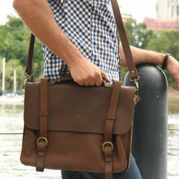 Bill Genuine Leather Satchel Bag by Indepal Leather