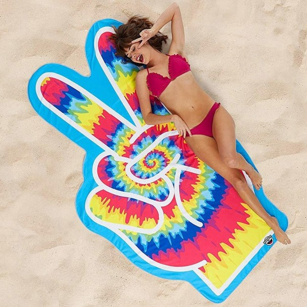 Gigantic Peace Fingers Beach Towel