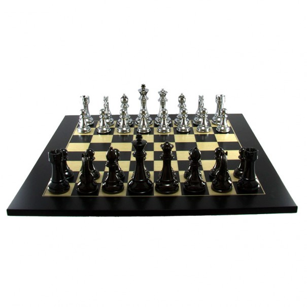 Dal Rossi Italy Silver and Titanium Weighted Chess Set