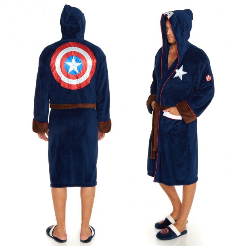 Captain America Hooded Fleece Bathrobe