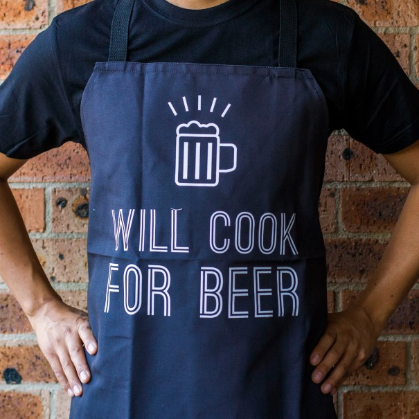 Will Cook for Beer Apron