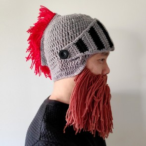 Medieval Roman Warrior Knitted Helmet Beanie with Beard