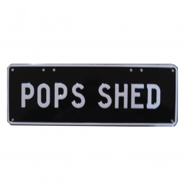 Pop's Shed Novelty Number Plate