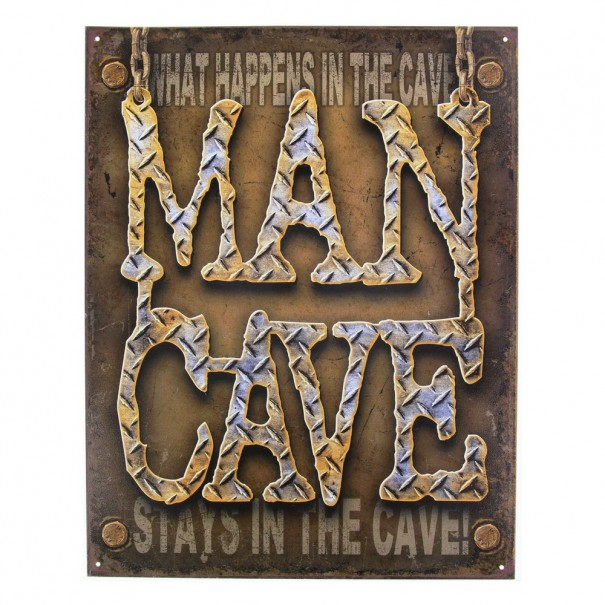 Man Cave Checkerplate Metal Sign
