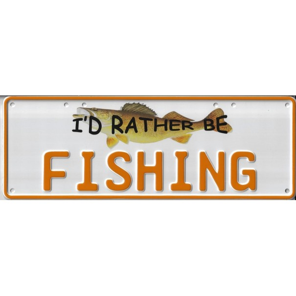 I'd Rather Be Fishing Novelty Number Plate