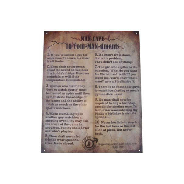 Man Cave 10 Commandments Metal Sign